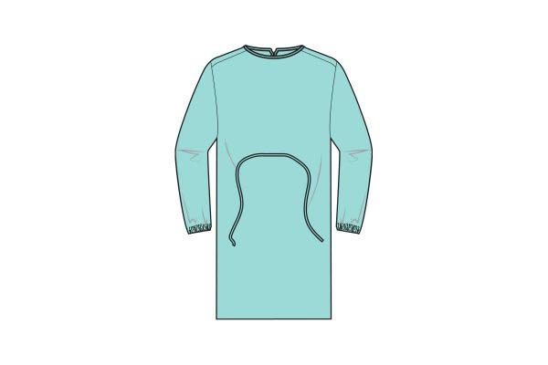 batas hidrófugas 25g com punho elástico e fecho com atilhos - 25g water repellent gowns - clothe protect