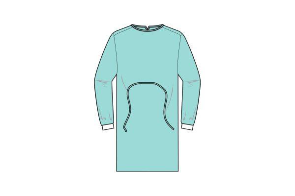 batas hidrófugas 25g com punho em malha e fecho com atilhos - 25g water repellent gowns - clothe protect