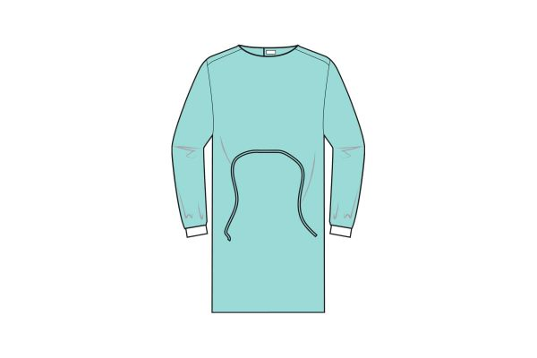 batas com punho elástico e fecho em velcro - gowns - clothe protect