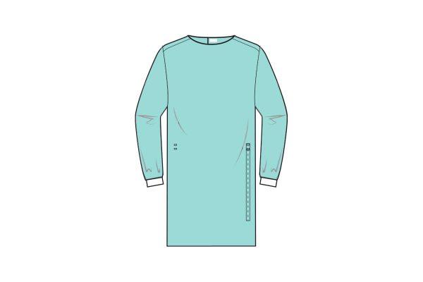 batas hidrófugas estéreis com punho em malha e fecho com velcro - sterile and water repellent gowns - clothe protect
